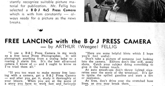 The Burke & James 4x5 Press, Endorsed by Weegee