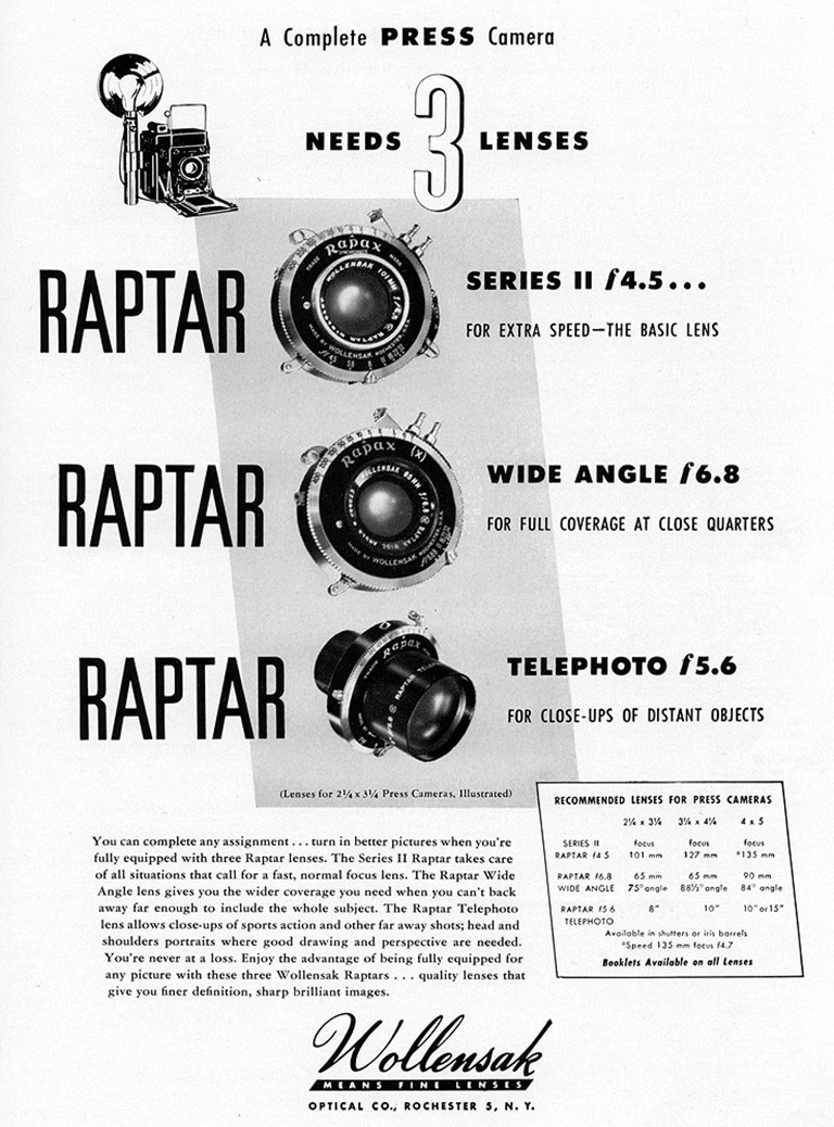 Wollensak Raptar Advertisement