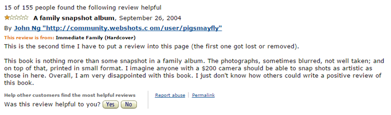 Sally Mann. One Star Rating