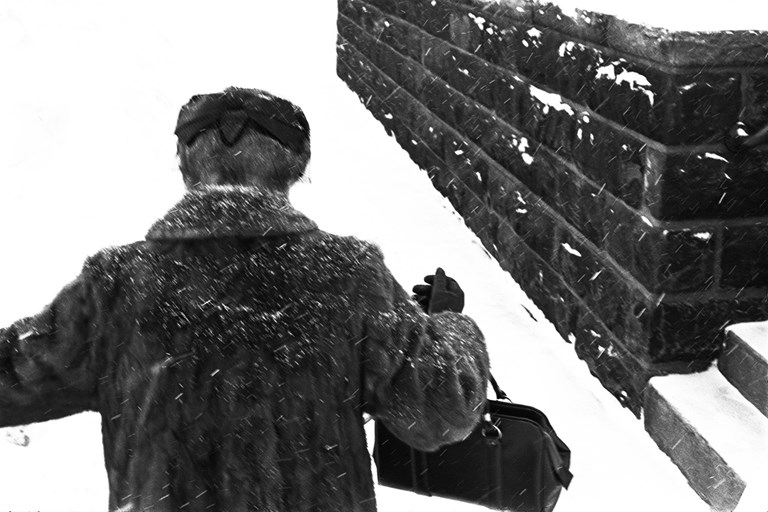Woman in Blizzard, Duluth, 1968