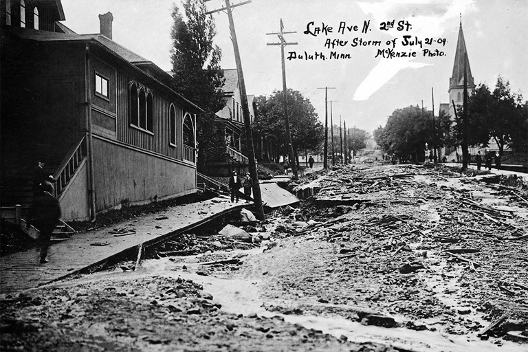 Hugh McKenzie - Flood damage at Lake Avenue, Duluth, Minnesota, July, 1909