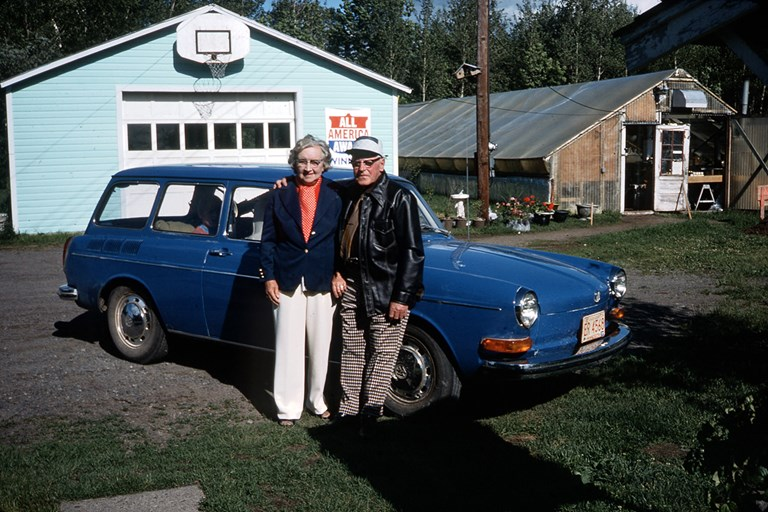 Elderly Couple with Car - 1976