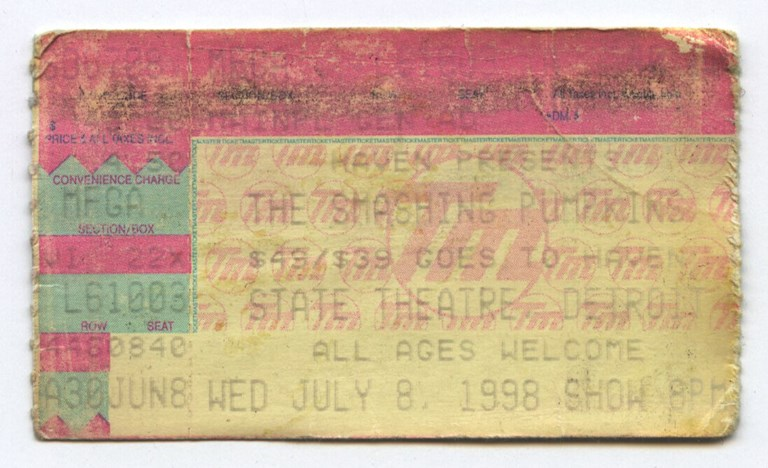 Smashing Pumpkins Ticket Stub, July 8th 1998
