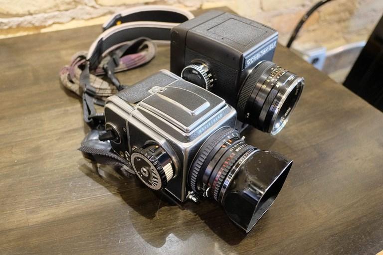 Rolleiflex SLX next to a Hasselblad 500 C/M