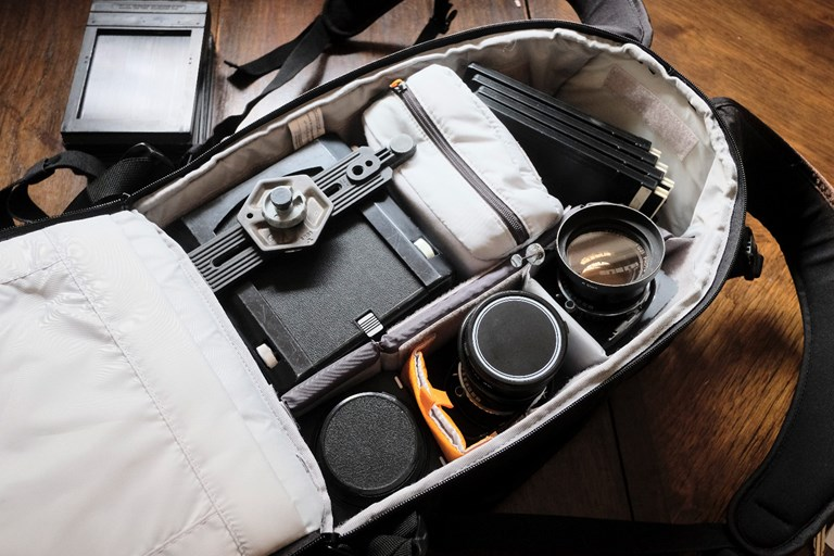 Wista VX with four lenses packed into a Lowepro 400 Flipside bag
