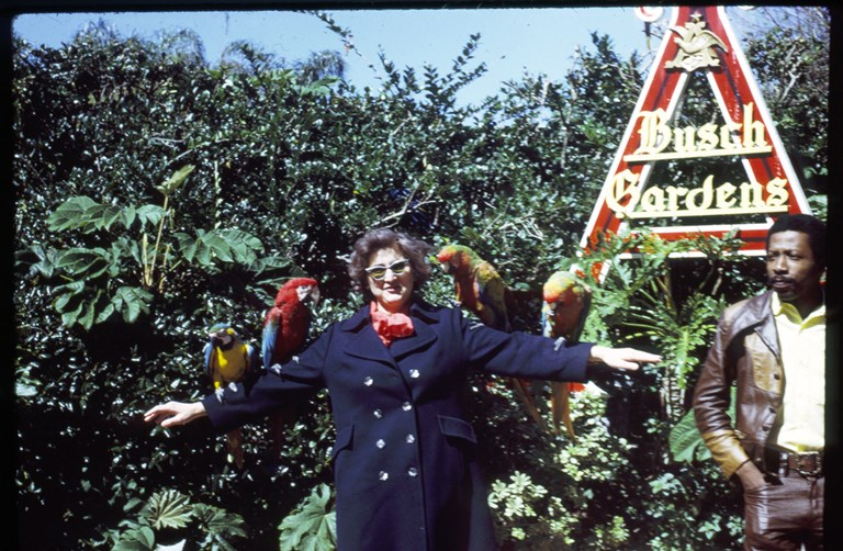 Busch Garden. Woman with parrots