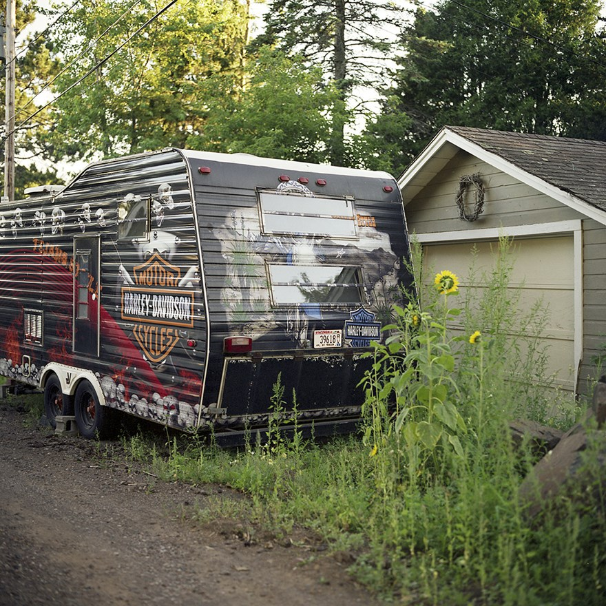 Sunflowers & A Harley Trailer, Duluth, Minnesota, August 2013