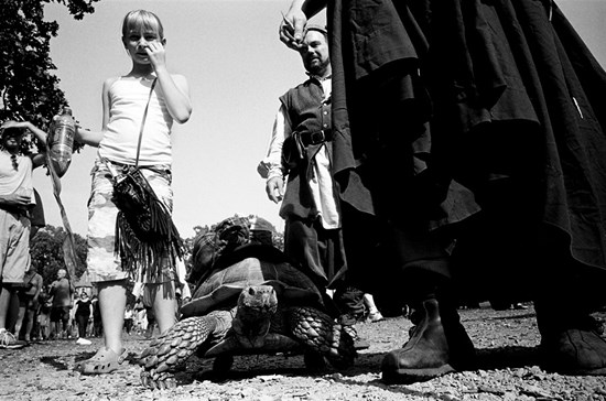 The Girl and Angus The Pack Tortoise, Minnesota, September 2008