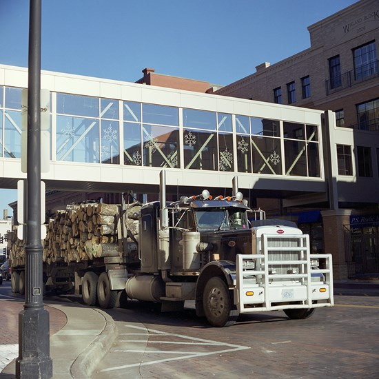 Logging Truck on Superior Street, Duluth, Minnesota, November 2013