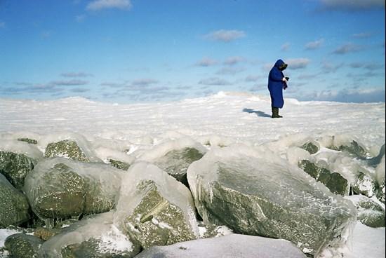 A Woman Walks On Ice, Duluth, Minnesota, March, 2011