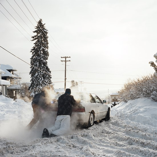 Pushing a Car After a Blizzard, December 2013