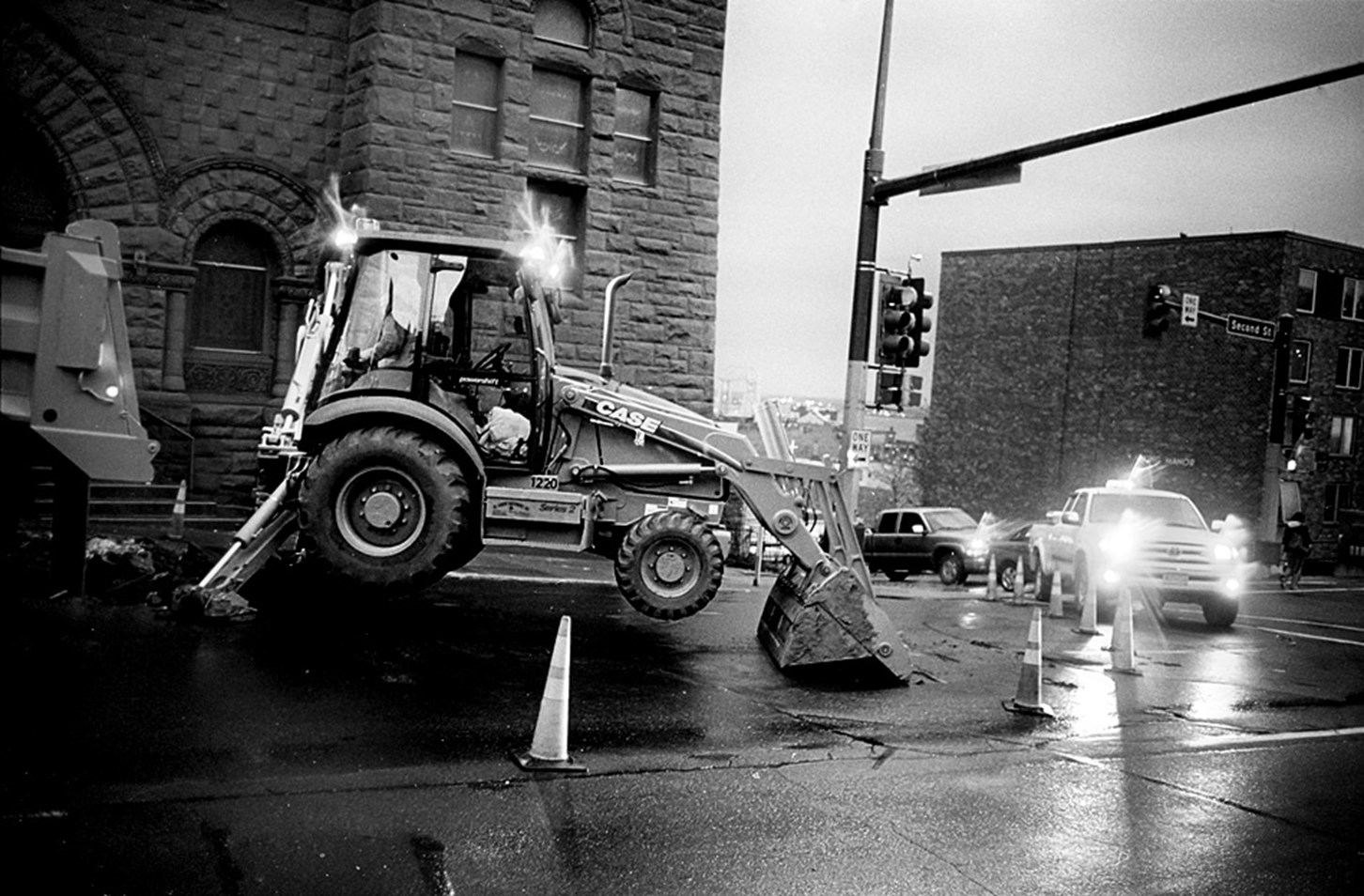 Repairing The Road Near Dusk, Duluth, Minnesota, November 2008