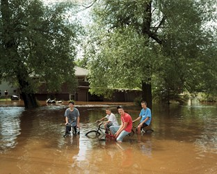 Bikers In Floodwater